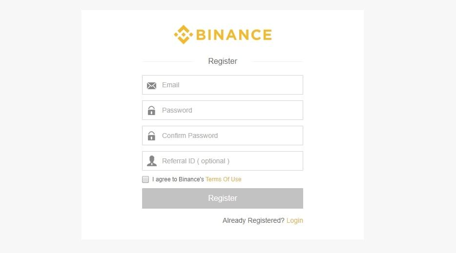 Процесс создания аккаунта на  бирже Binance