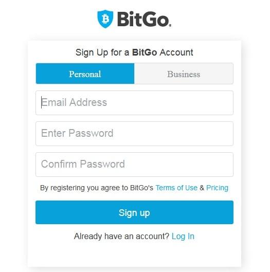 Страница регистрации кошелька BitGo