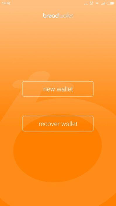 Стартовая страница Bread Wallet
