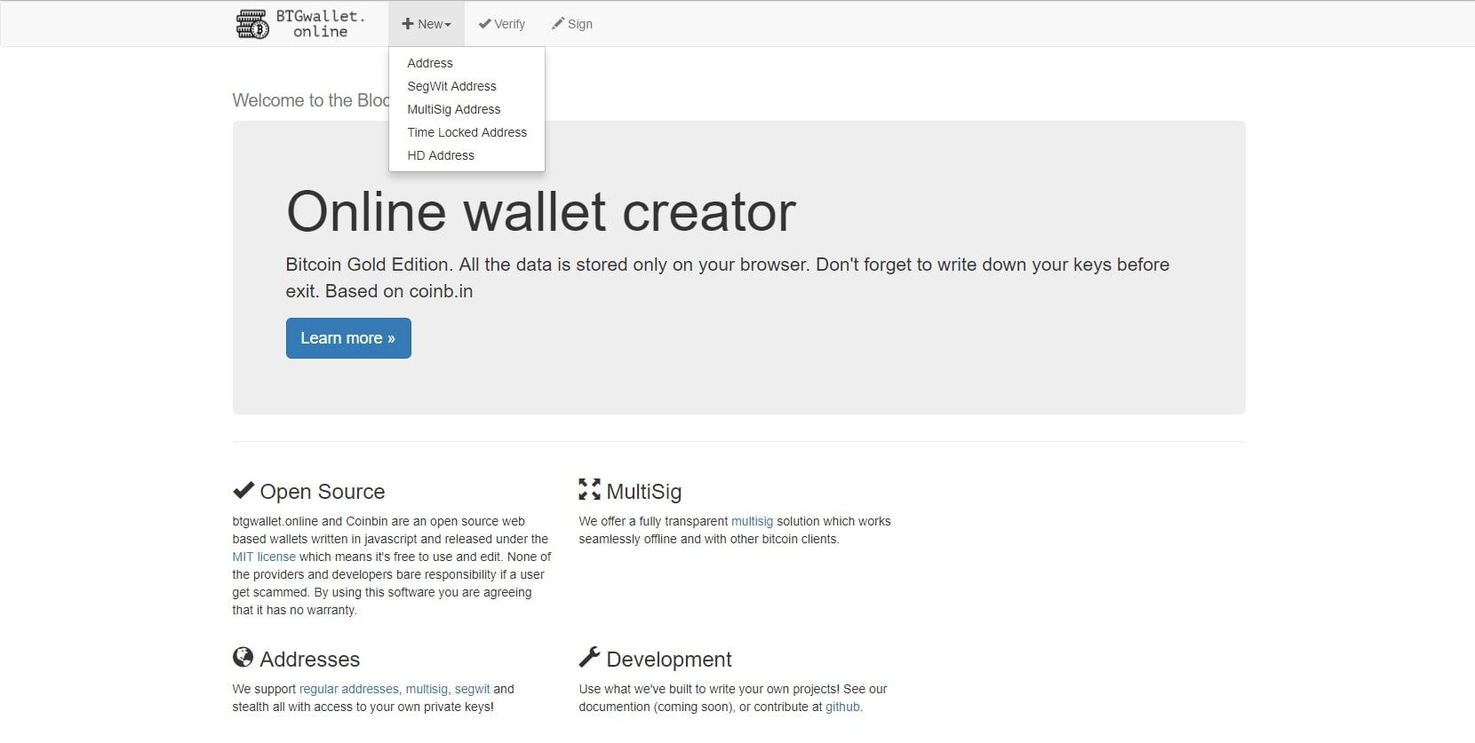 Вид главной страницы сайта btgwallet.online
