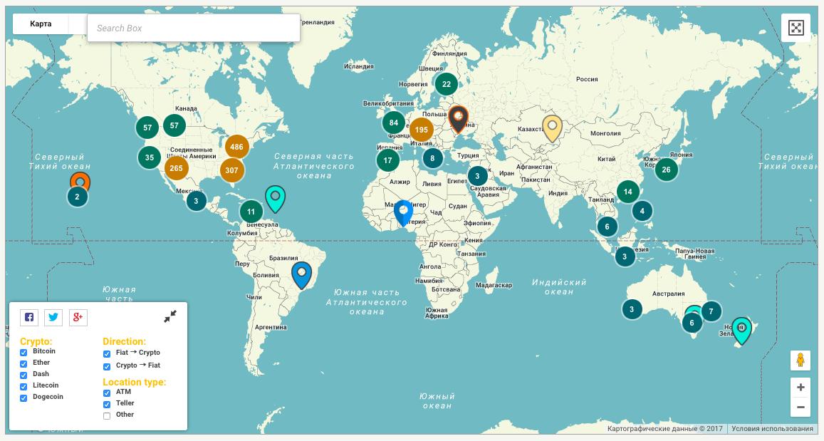 Биткоин-банкоматы на карте мира