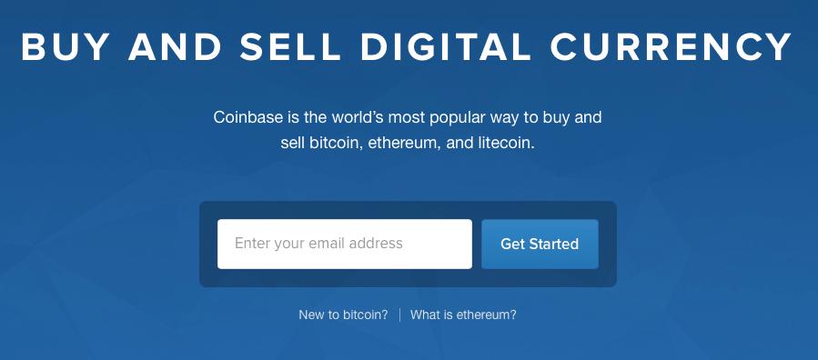 Главная страница Coinbase