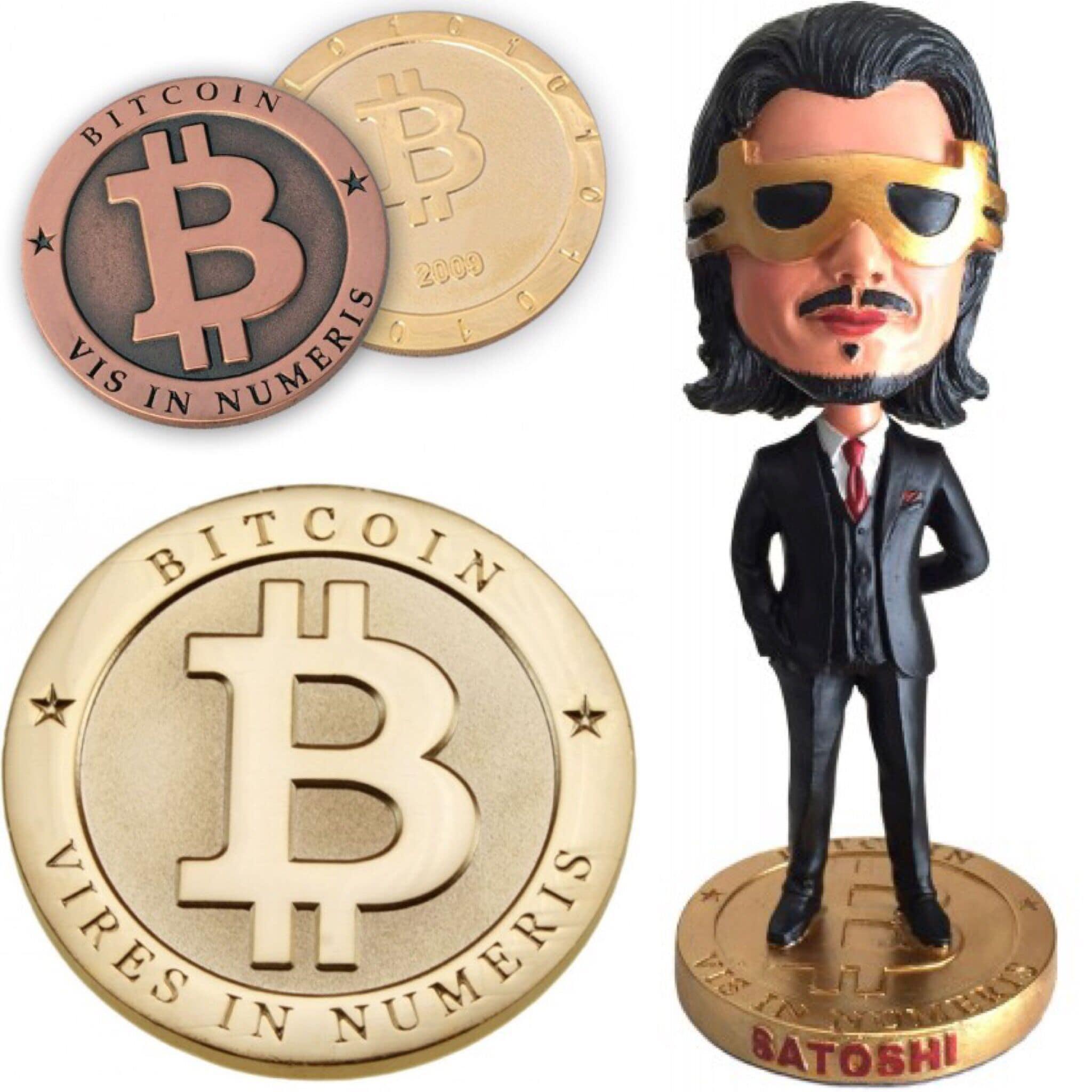 Монета и фигурка Сатоши Накамото от Coined Bits