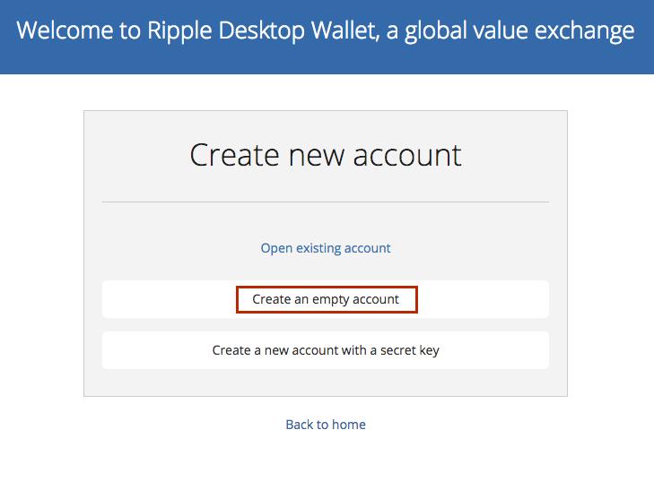 Создать пустой аккаунт Rippex