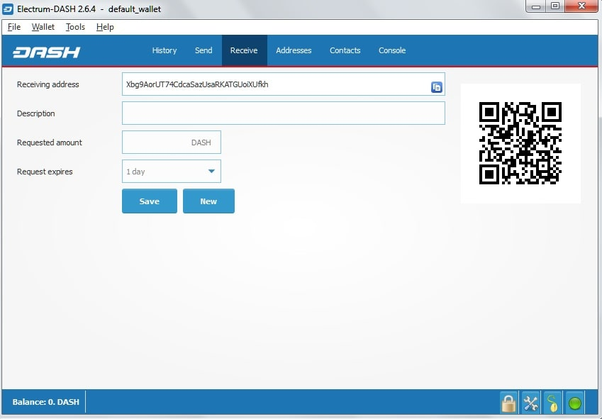 QR-код и адрес кошелька Dash Electrum
