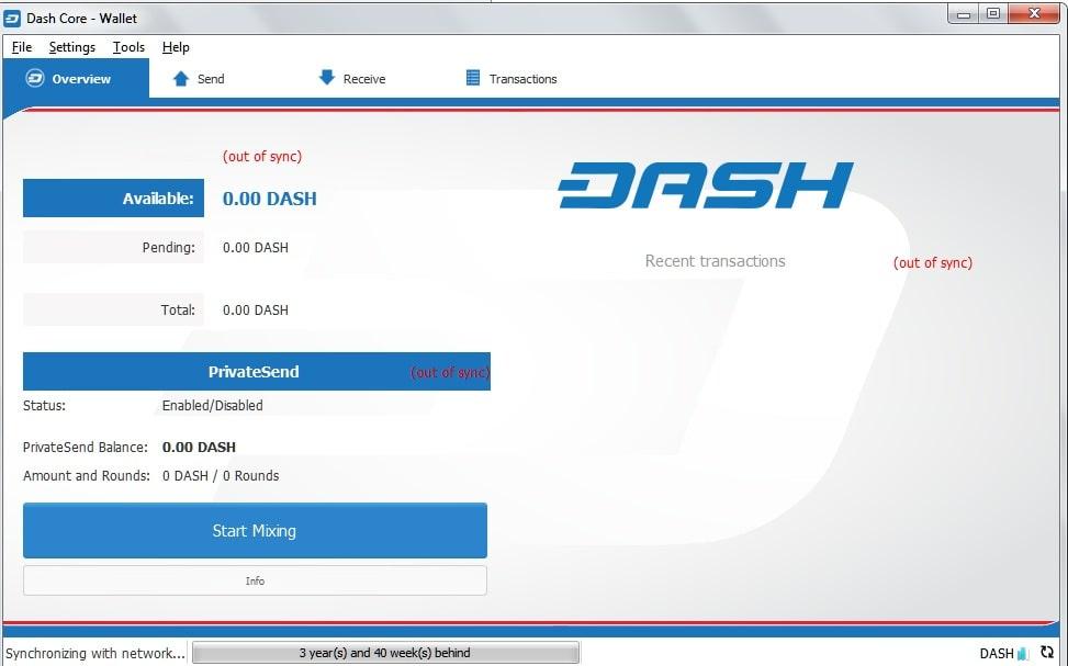Интерфейс кошелька Dash