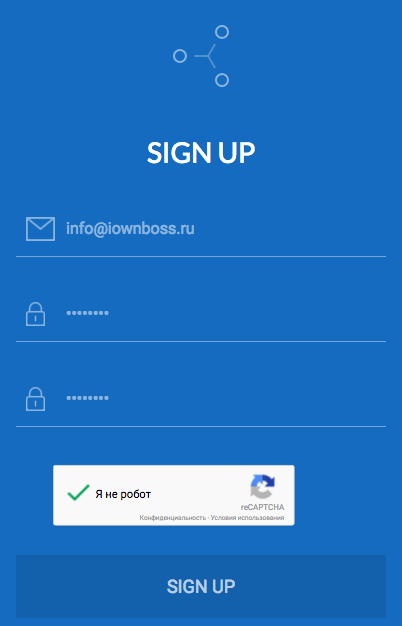 Окно регистрации Gatehub