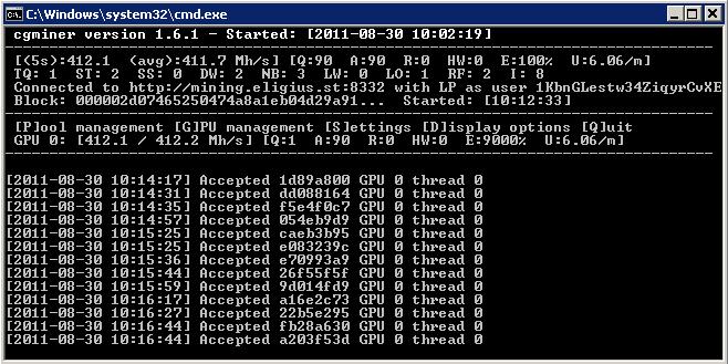 Внешний вид интерфейса консольного майнера sgminer