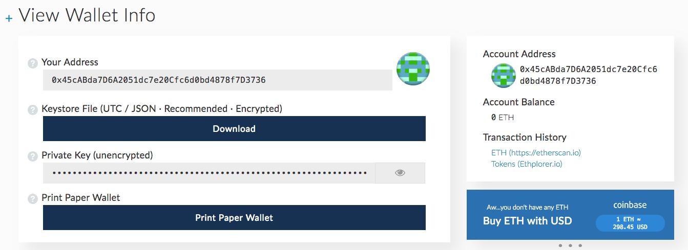 MyEtherWallet – интерфейс