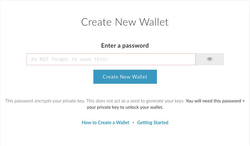 Главная страница MyEtherWallet: ввод пароля