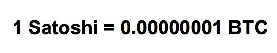 1 bitcoin satoshi