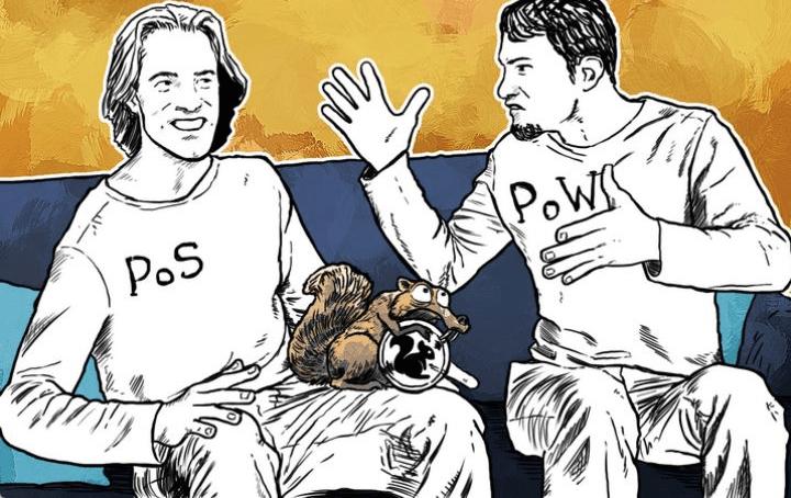 Алгоритмы PoW и PoS в Blockchain (иллюстрация)