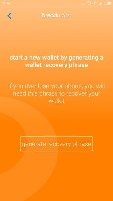 Фраза восстановления Bread Wallet