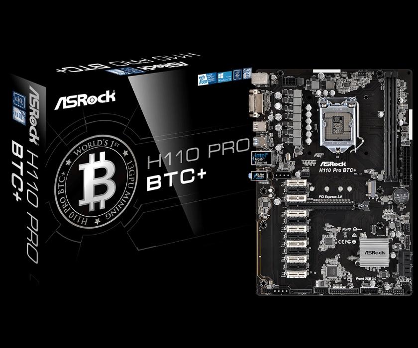 Материнская плата H110 Pro BTC+ Bitcoin от компании ASRock