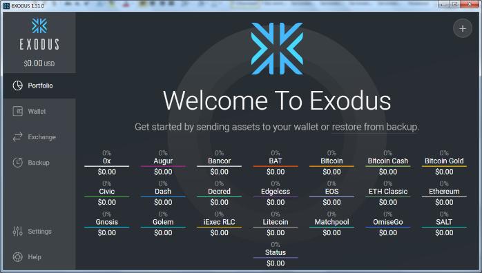 Установка Exodus