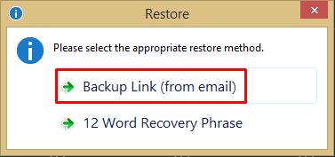 Restore Backup Link
