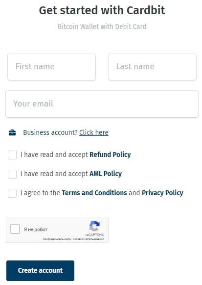 Регистрация на Cardbit